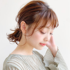 ミディアム ナチュラル 簡単ヘアアレンジ 大人かわいい ヘアスタイルや髪型の写真・画像