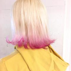 ミディアム ブリーチ グラデーションカラー ストリート ヘアスタイルや髪型の写真・画像