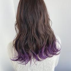 パープルカラー グラデーションカラー 裾カラー パープル ヘアスタイルや髪型の写真・画像