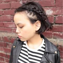 三つ編み ストレート ヘアアレンジ ストリート ヘアスタイルや髪型の写真・画像