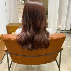オレンジブラウン セミロング オレンジカラー 艶髪 ヘアスタイルや髪型の写真・画像