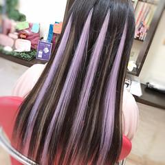 夏 ハイライト エクステ パープル ヘアスタイルや髪型の写真・画像