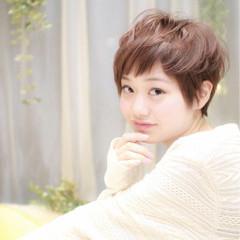 ショートバング 斜め前髪 ショート ベリーショート ヘアスタイルや髪型の写真・画像