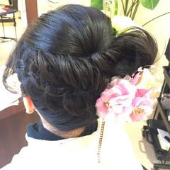 和装 着物 セミロング ヘアアレンジ ヘアスタイルや髪型の写真・画像