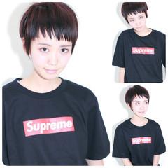 ショート ストレート ストリート 黒髪 ヘアスタイルや髪型の写真・画像