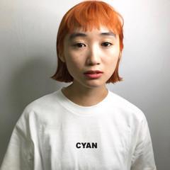 ストリート ヘアカラー オレンジ アプリコットオレンジ ヘアスタイルや髪型の写真・画像