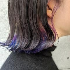 インナーカラーパープル インナーカラーホワイト ナチュラル インナーブルー ヘアスタイルや髪型の写真・画像
