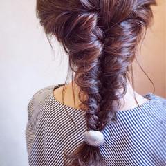 編みおろし 簡単ヘアアレンジ エレガント お呼ばれ ヘアスタイルや髪型の写真・画像