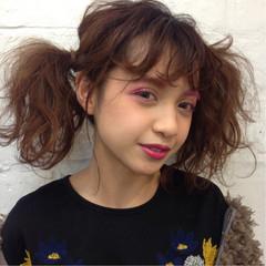 ミディアム ガーリー ツインテール フェス ヘアスタイルや髪型の写真・画像