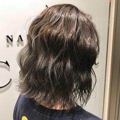 外国人風カラー ボブ ハイライト グレージュ ヘアスタイルや髪型の写真・画像