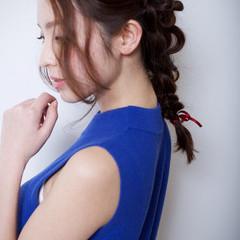 くるりんぱ 簡単ヘアアレンジ 夏 セミロング ヘアスタイルや髪型の写真・画像