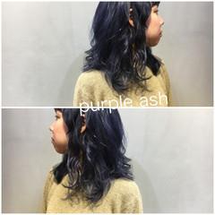アッシュグレー ストリート ミディアム ラベンダーアッシュ ヘアスタイルや髪型の写真・画像