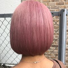 ピンクベージュ ボブ ミニボブ ベリーピンク ヘアスタイルや髪型の写真・画像