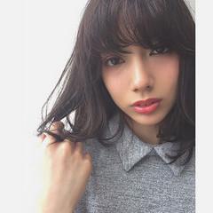 ガーリー モテ髪 黒髪 ミディアム ヘアスタイルや髪型の写真・画像