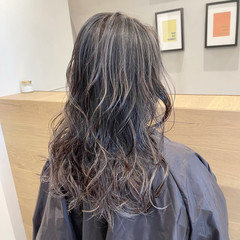 コントラストハイライト セミロング 外国人風カラー 3Dハイライト ヘアスタイルや髪型の写真・画像