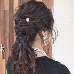 簡単ヘアアレンジ 女子会 セミロング 結婚式 ヘアスタイルや髪型の写真・画像