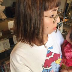 ハイライト ボブ ローライト 切りっぱなし ヘアスタイルや髪型の写真・画像
