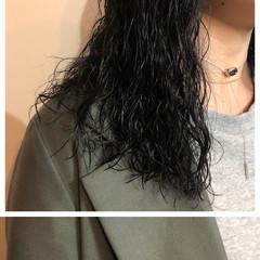 モード パーマ ミディアムレイヤー セミロング ヘアスタイルや髪型の写真・画像