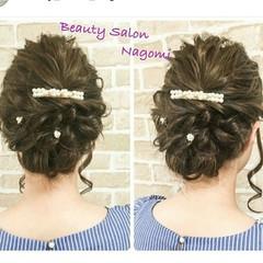 セミロング かわいい 編み込み 結婚式 ヘアスタイルや髪型の写真・画像