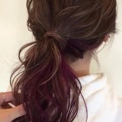 ショート 簡単ヘアアレンジ インナーカラー セミロング ヘアスタイルや髪型の写真・画像