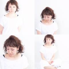 ゆるふわ 夏 オン眉 大人かわいい ヘアスタイルや髪型の写真・画像