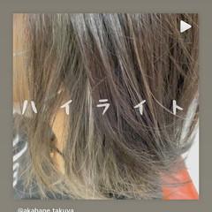 大人ハイライト 大人かわいい ナチュラル ミディアム ヘアスタイルや髪型の写真・画像