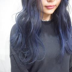ネイビーブルー ロング ネイビーカラー ストリート ヘアスタイルや髪型の写真・画像