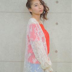 ヘアアレンジ ミディアム ガーリー 簡単ヘアアレンジ ヘアスタイルや髪型の写真・画像