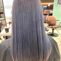 ロング ガーリー ブルーアッシュ ブルー ヘアスタイルや髪型の写真・画像