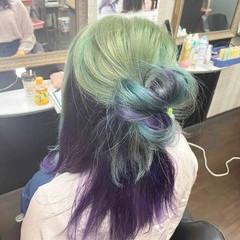 インナーカラー ミディアム ガーリー インナーカラーパープル ヘアスタイルや髪型の写真・画像