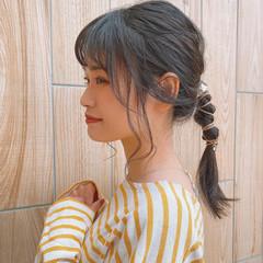 ナチュラル可愛い セミロング ポニーテール ヘアアレンジ ヘアスタイルや髪型の写真・画像