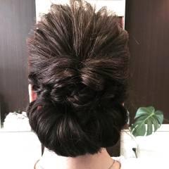 編み込み ツイスト ヘアアレンジ くるりんぱ ヘアスタイルや髪型の写真・画像