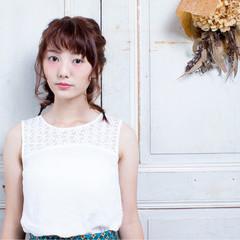 ヘアアレンジ ミディアム 三つ編み 簡単ヘアアレンジ ヘアスタイルや髪型の写真・画像