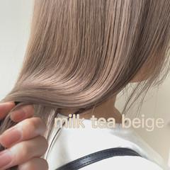 セミロング ブロンドカラー ブリーチ ピンクベージュ ヘアスタイルや髪型の写真・画像