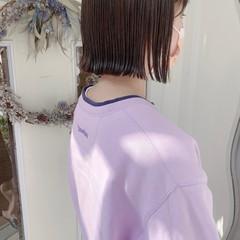 アッシュベージュ ナチュラル ミニボブ 切りっぱなしボブ ヘアスタイルや髪型の写真・画像