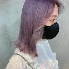 ラベンダー ラベンダーピンク ガーリー ミディアム ヘアスタイルや髪型の写真・画像