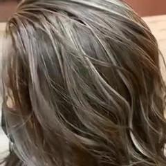 大人ハイライト セミロング エレガント ハイライト ヘアスタイルや髪型の写真・画像