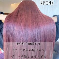 ハイトーン ロング ピンク エレガント ヘアスタイルや髪型の写真・画像