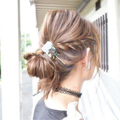 ハイライト ミディアム 大人女子 簡単ヘアアレンジ ヘアスタイルや髪型の写真・画像