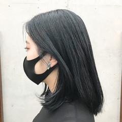モード ミディアム ヘアカラー ブルーブラック ヘアスタイルや髪型の写真・画像