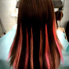 メッシュ ガーリー セミロング ピンク ヘアスタイルや髪型の写真・画像