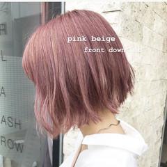 ピンクブラウン モテボブ ガーリー ピンク ヘアスタイルや髪型の写真・画像
