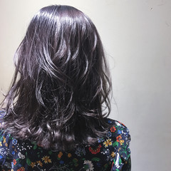 パープル ボブ ガーリー ミディアム ヘアスタイルや髪型の写真・画像
