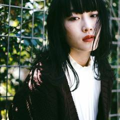 マッシュ 色気 ロブ セミロング ヘアスタイルや髪型の写真・画像