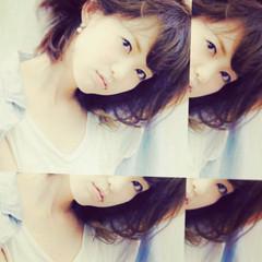 アッシュ ミディアム フェミニン コンサバ ヘアスタイルや髪型の写真・画像