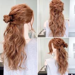 ロング 簡単ヘアアレンジ ヘアアレンジ ハーフアップ ヘアスタイルや髪型の写真・画像