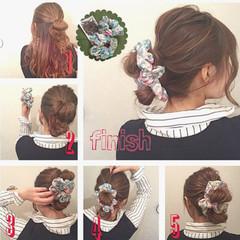 セルフヘアアレンジ セミロング ヘアアレンジ 簡単ヘアアレンジ ヘアスタイルや髪型の写真・画像