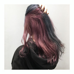 シルバー ロング ブルー ストリート ヘアスタイルや髪型の写真・画像