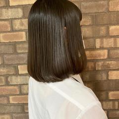 ナチュラル 切りっぱなしボブ ストレート 艶髪 ヘアスタイルや髪型の写真・画像