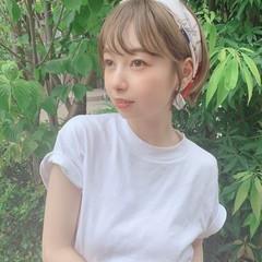 スカーフアレンジ ショート セルフヘアアレンジ 簡単ヘアアレンジ ヘアスタイルや髪型の写真・画像